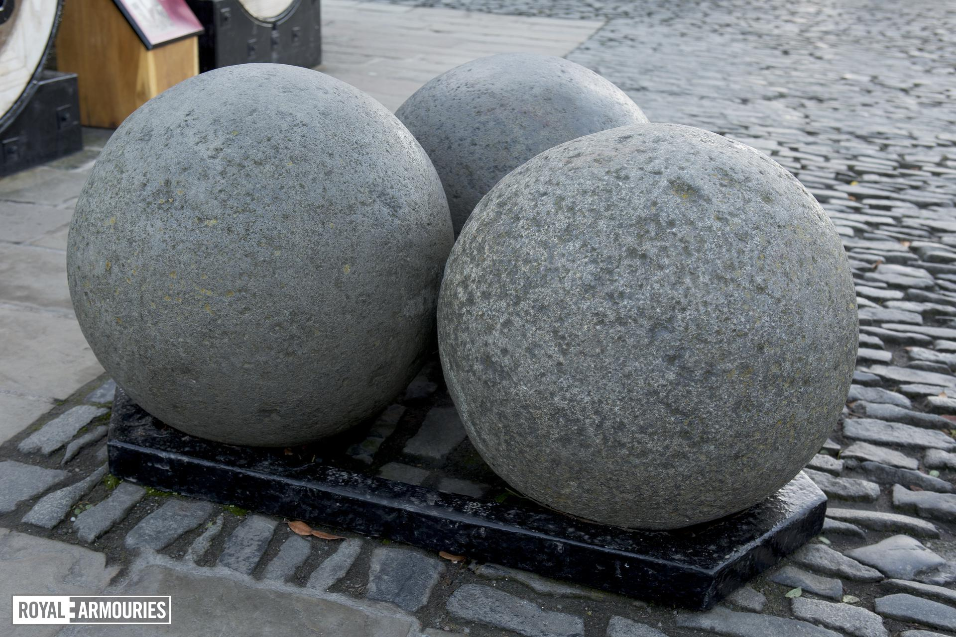 Cannon balls for iron bombard known as Mons Meg. Flemish, Mons, mid-15th century (XIX.13) On loan to Historic Scotland and on display at Edinburgh Castle.