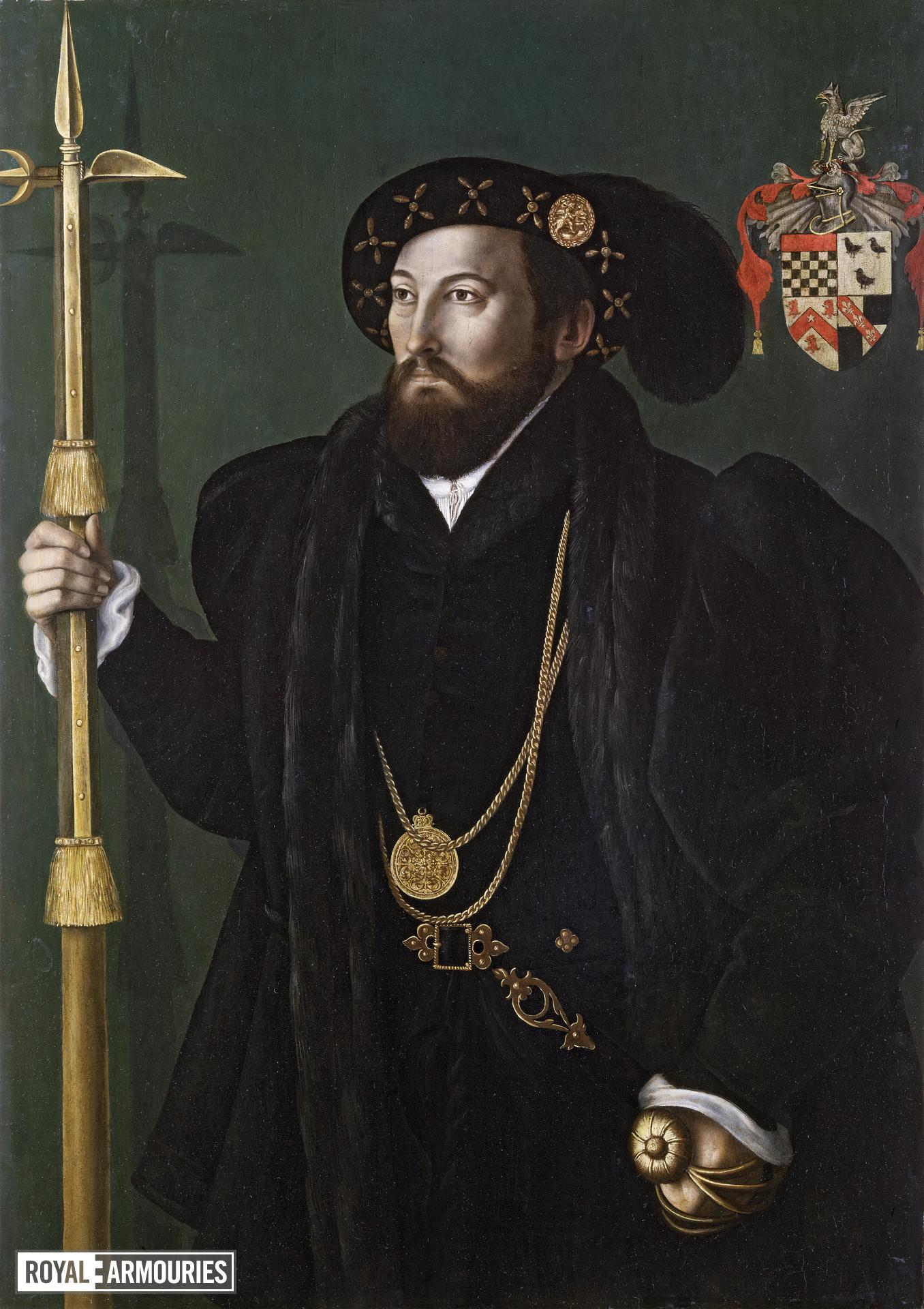 Painting - Portrait, probably William Palmer Portrait, attributed to Gerlach Flicke, of a member of the Palmer family, probably William Palmer, Gentleman Pensioner c. 1539, with a pollaxe and basket hilted sword.