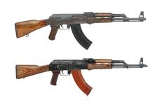 Thumbnail image of (Top) Kalashnikov AK-47 centrefire automatic rifle, Russian, about 1951(PR.954.) (Bottom) Kalashnikov AKM centrefire automatic rifle, Russian (PR.9071)