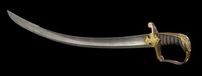 Thumbnail image of Officer's Sword,10th (POW's) Hussars, sealed pattern, Britain, about 1810 (IX.387)