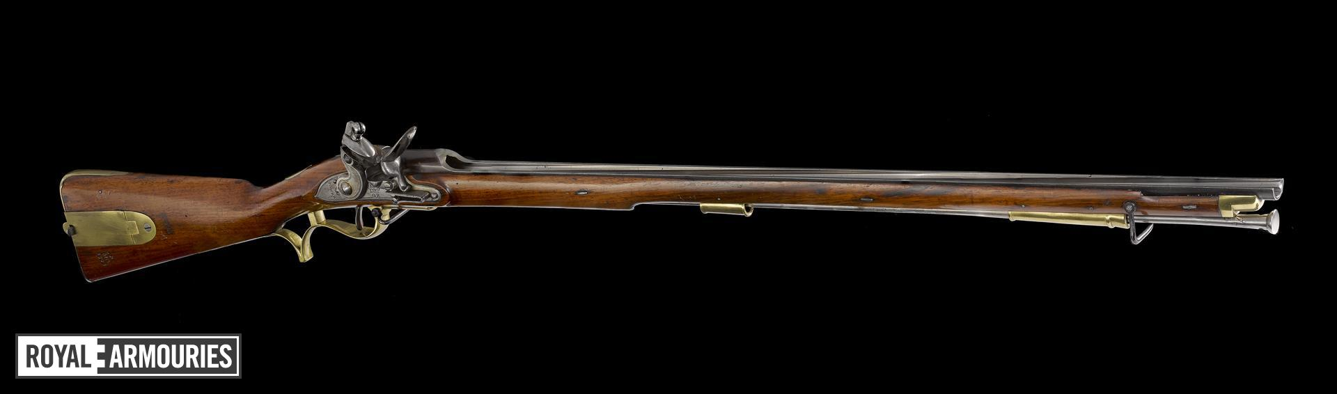 'Baker' flintlock muzzle-loading rifle, of carbine bore, about 1810, England (XII.2443)