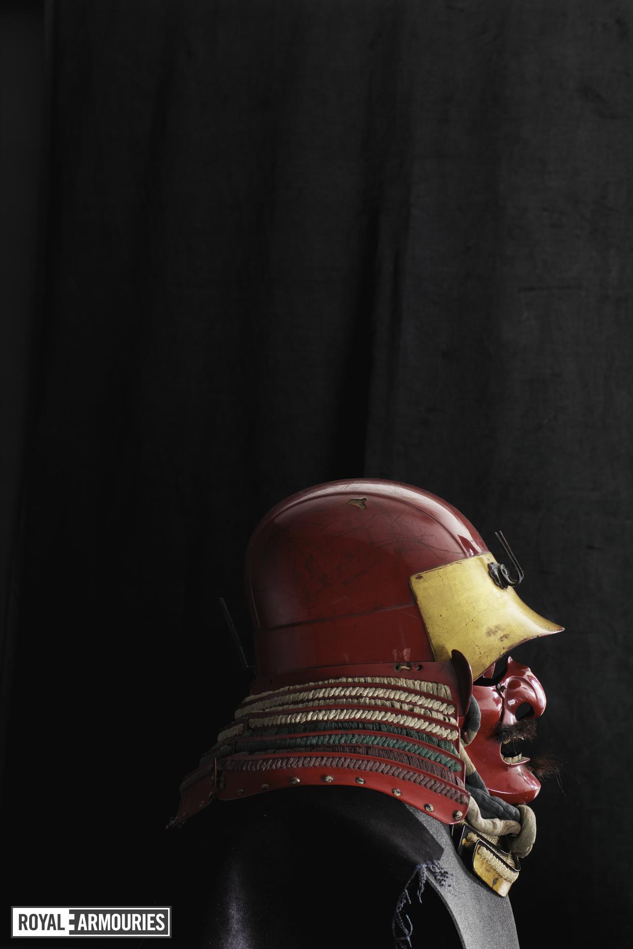 Armour (tosei gusoku) red lacquered. Japanese, Helmet Momoyama period (XXVIA.224)