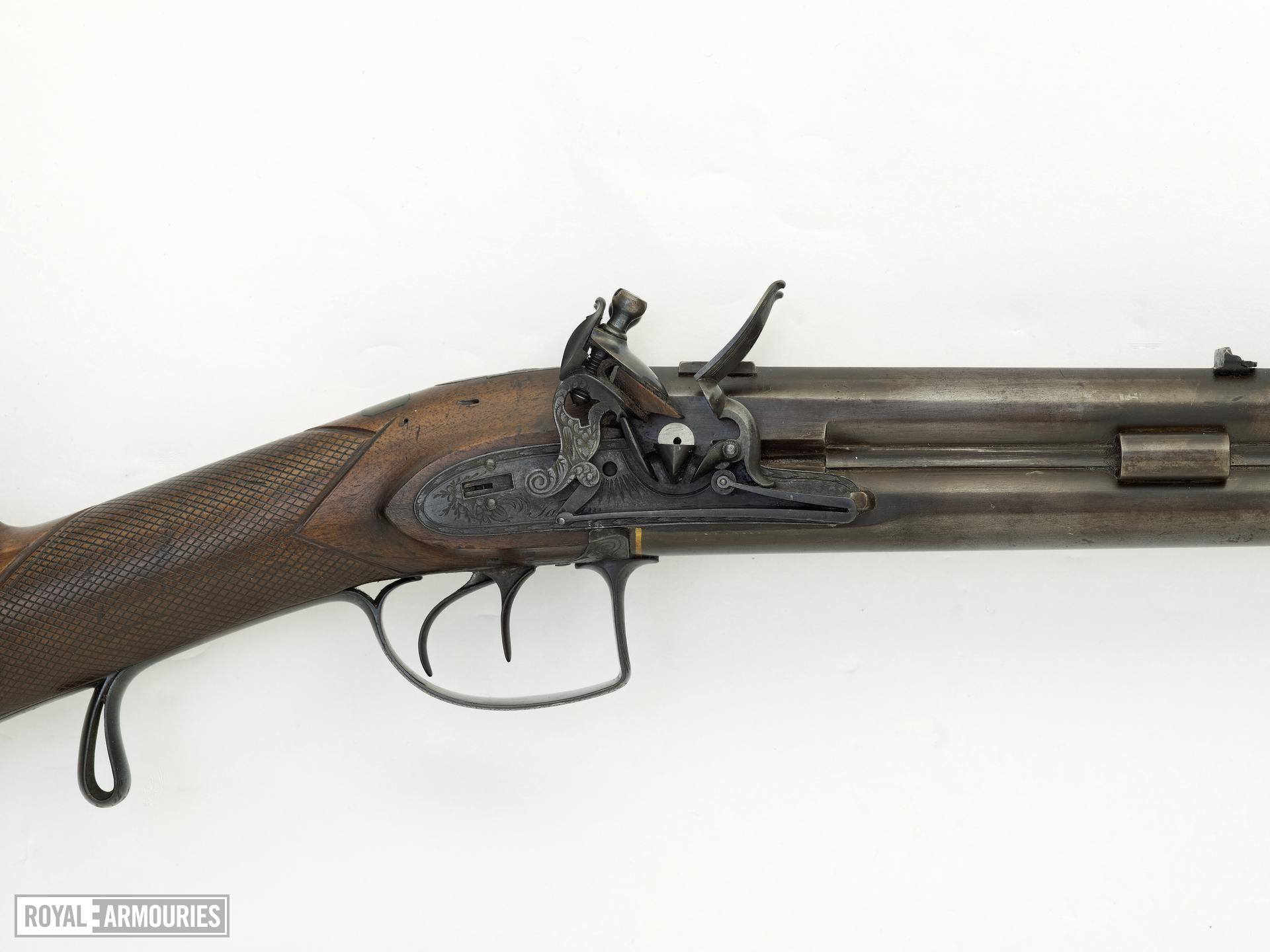 Flintlock double barrelled muzzle-loading presentation rifle - By Tatham Barrel probably by William Fullerd