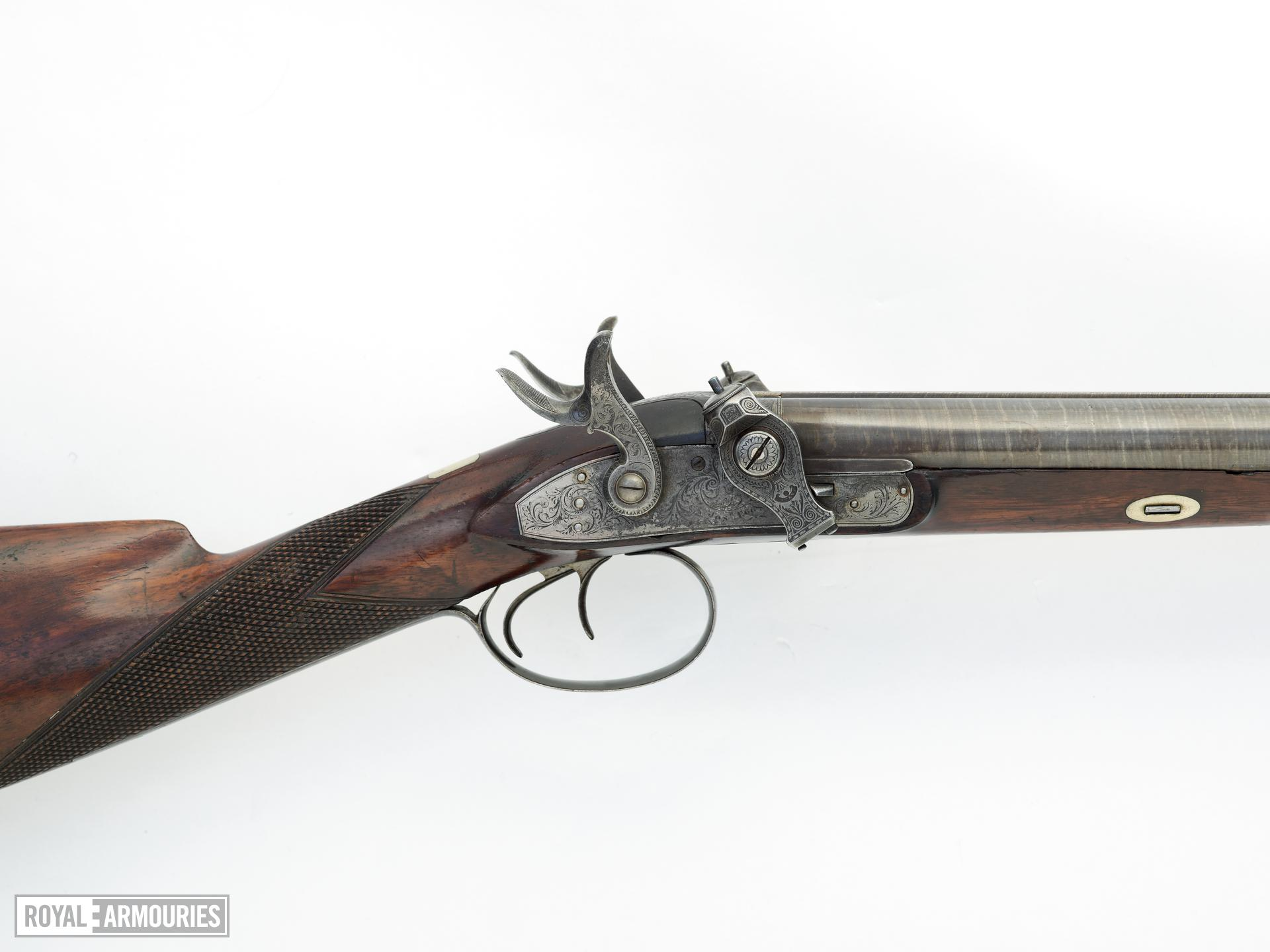Percussion double-barrelled shotgun - By Joseph Egg Cased Converted from flintlock to the fulminate lock 'scent bottle' type by Forsyth & Co in 1821  The inscription on the rib is of a later date.