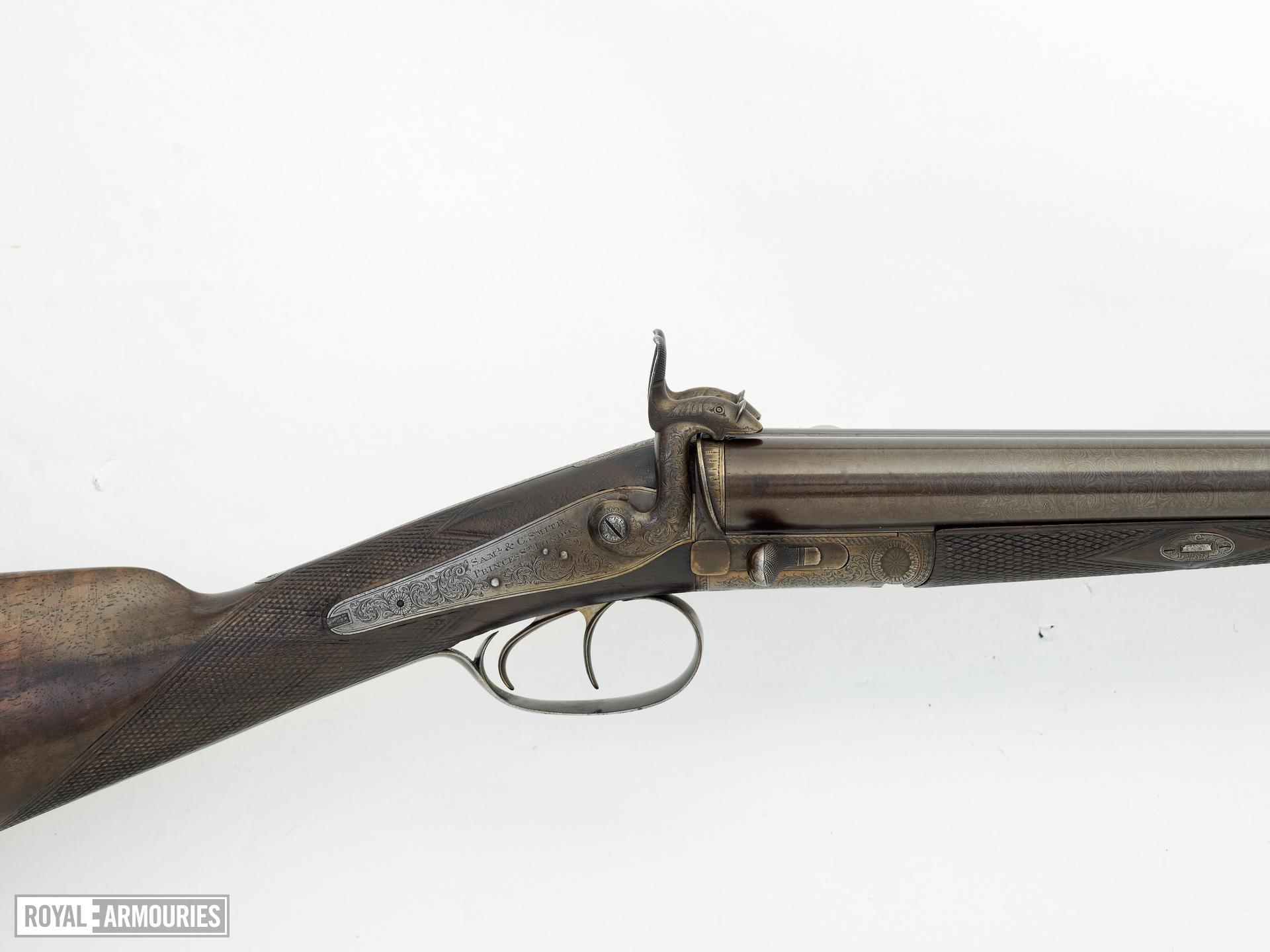 Pinfire breech-loading double-barrelled shotgun - By Samual and C. Smith Hammer gun