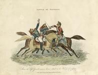 Thumbnail image of Hand coloured engraving showing Corporal John Shaw, 2nd Life Guards, at the battle of Waterloo,1816, London, Britain. Published by Thomas Kelly, Paternoster Row, October 26th, 1816. (I.53)