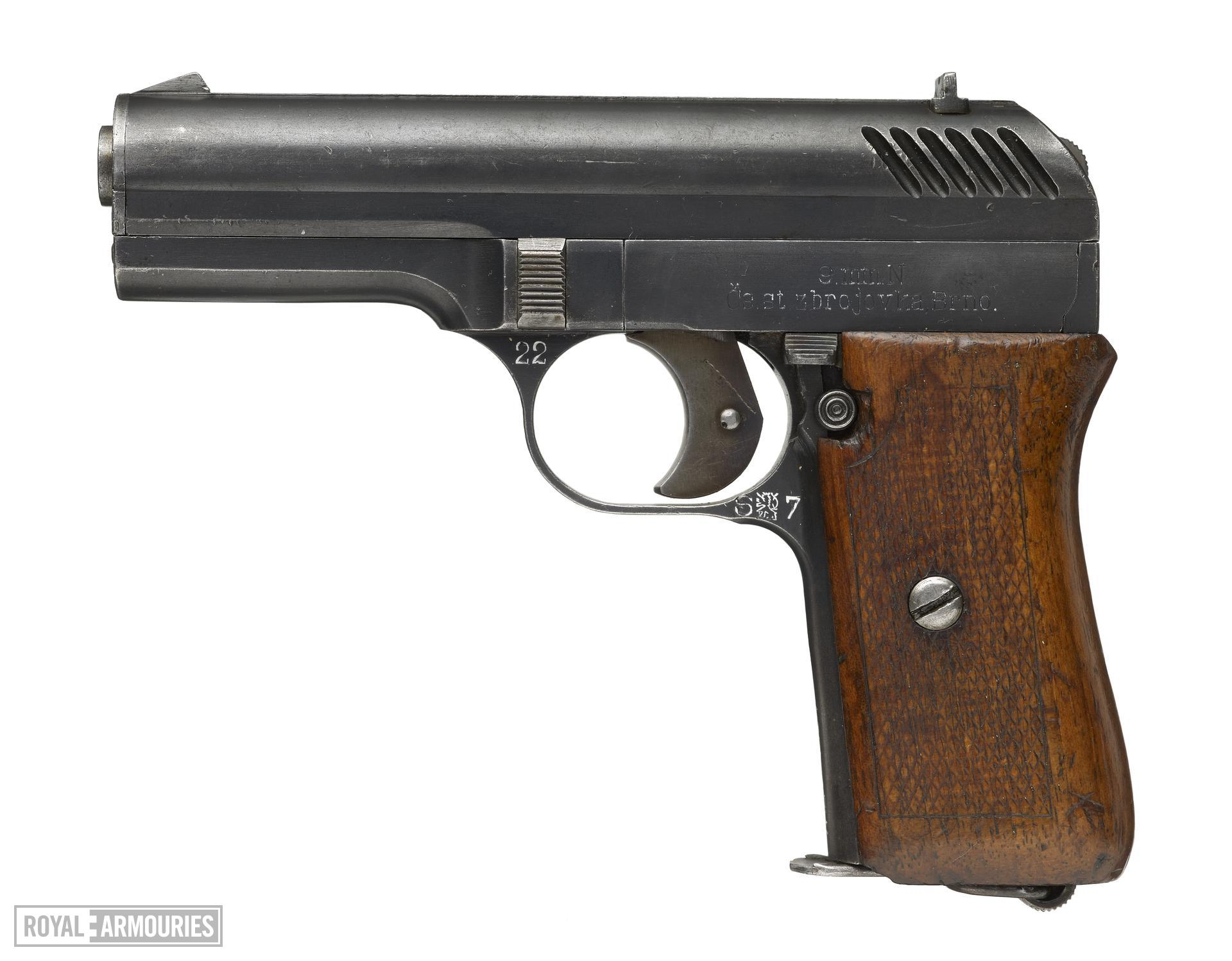 ZB VZ22 centrefire self loading pistol, made by Brno, Czechoslovakia. (PR.2048)