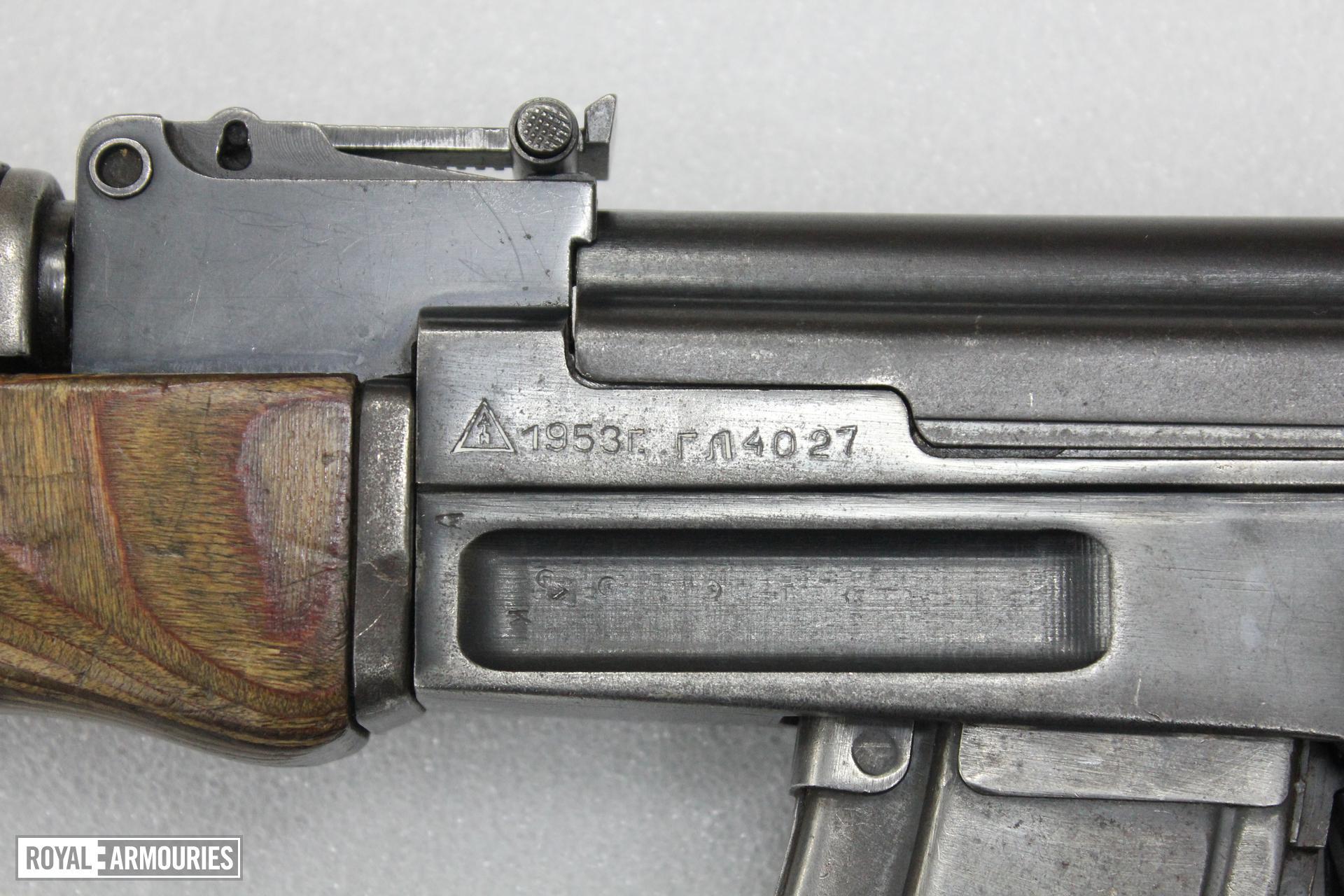 Closeup on trunnion markings