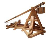Thumbnail image of Wooden model of a 13th-century counterpoise trebuchet.The counterweight on the shorter end of the balance arm would be a box of stones. The longer end has a sling in which is secured a stone. British, 1994 (M.90)