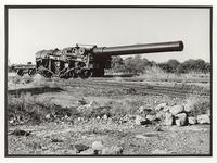 Thumbnail image of The only surviving 18-inch howitzer on its proof mounting at Shoeburyness range, Essex, 7 June 1990.