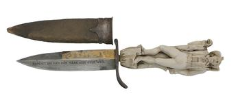 Thumbnail image of Hunting knife and scabbard. German, 19th century (X.385)