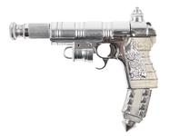 Thumbnail image of Prop pistol from the 2003 movie 'The League of Extraordinary Gentlemen'. Made from a Tokarev TT33 pistol dressed with painted plastic parts. Converted to fire movie blanks using an internal barrel restrictor. Used in the movie by Captain Nemo and some of his crew. Intended to suggest a Victorian weapon ahead of its time, following the 'Steampunk' retro-futuristic aesthetic of the movie and the graphic novel that it was based upon. European, about 1940 (XII.11938)
