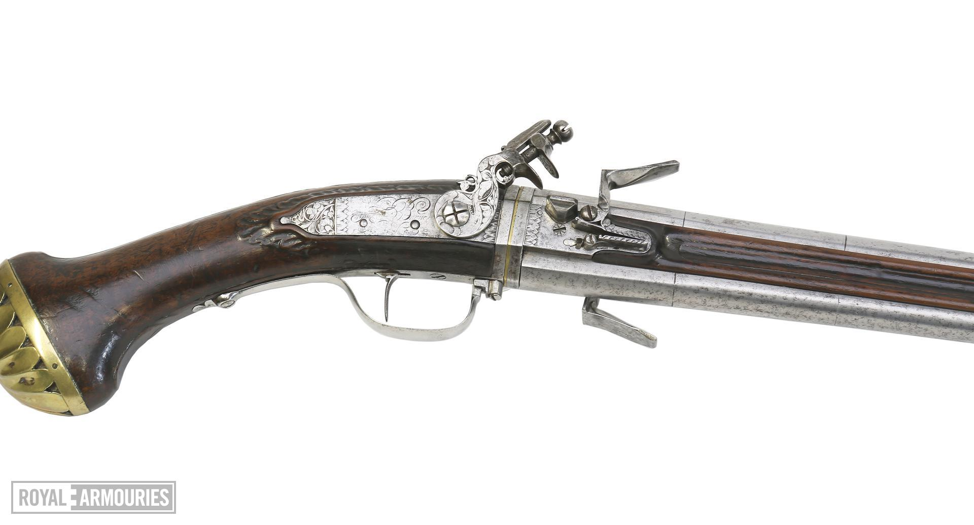 Flintlock double-barrelled pistol By Harman Barne.