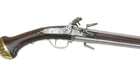 Thumbnail image of Flintlock double-barrelled pistol By Harman Barne.