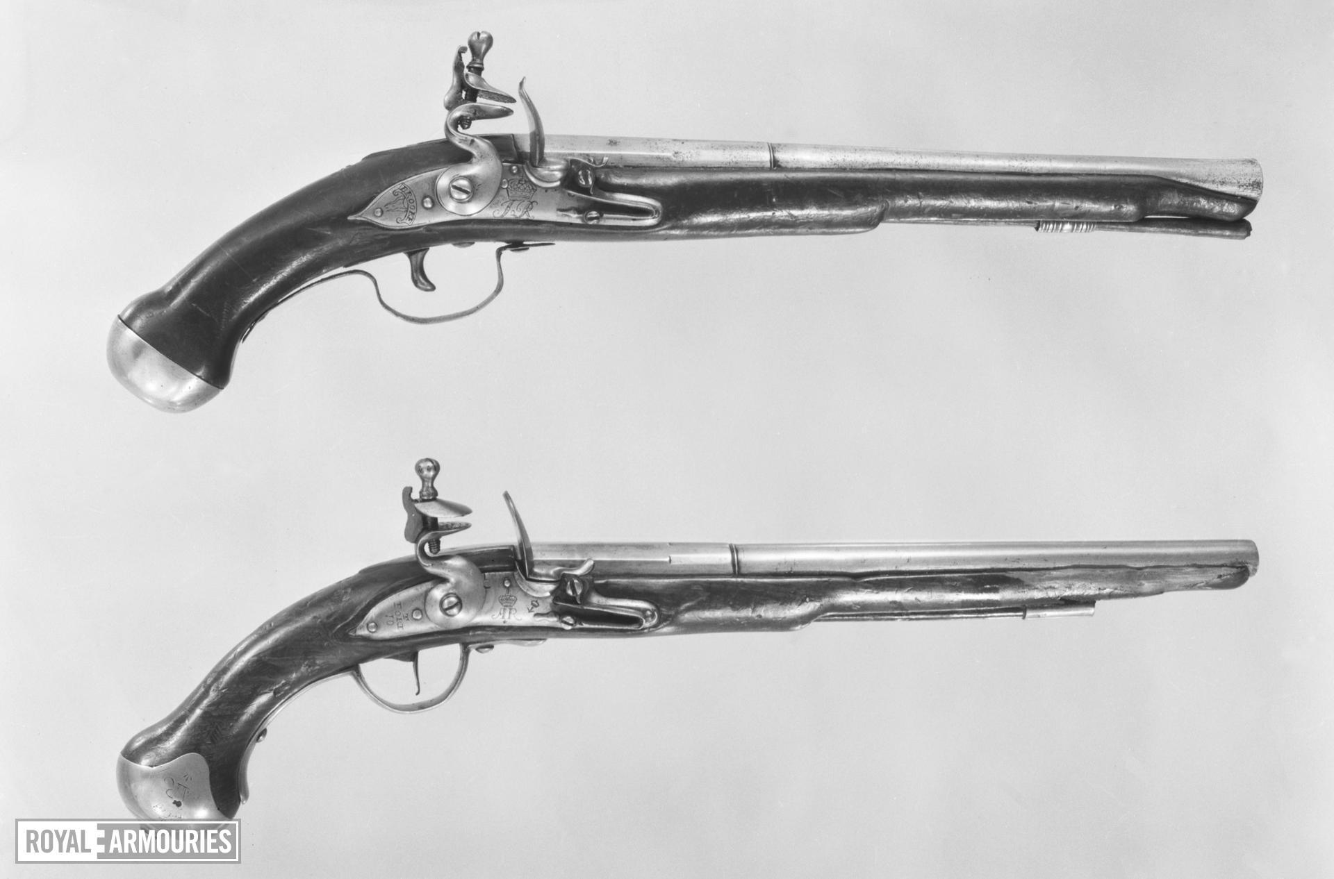 Pair of flintlock military holster pistols