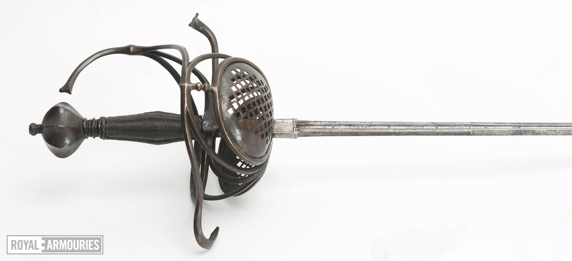 'Pappenheim' rapier, modified for duelling and associated with Christian Carl Graf von Giech. Stamped 'CLEMENS DINGER ME FECIT' and 'CLEMENS DINGER SOLINGEN'.