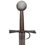 Thumbnail image of Sword. European, probably Italian, late 14th or early 15th century. The hilt with a finger guard and marked with the date 1432. Sword, blade Oakeshott Type XIX; pommel Oakeshott Type G; cross-guard Oakeshott Type 5 (IX.950)