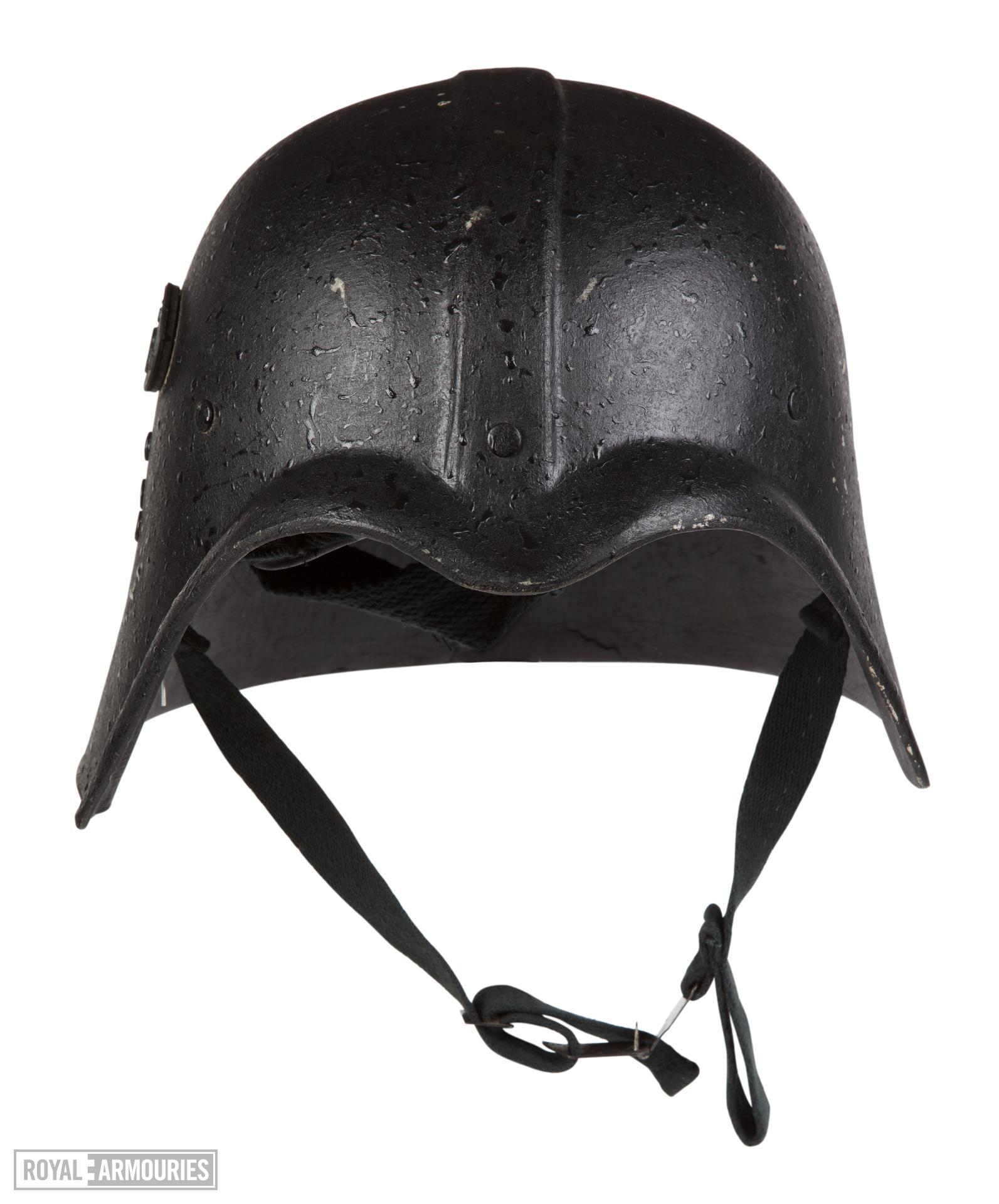 Front view of helmet for Fedayeen Saddam, Iraq, about 1995 (IV.2059)