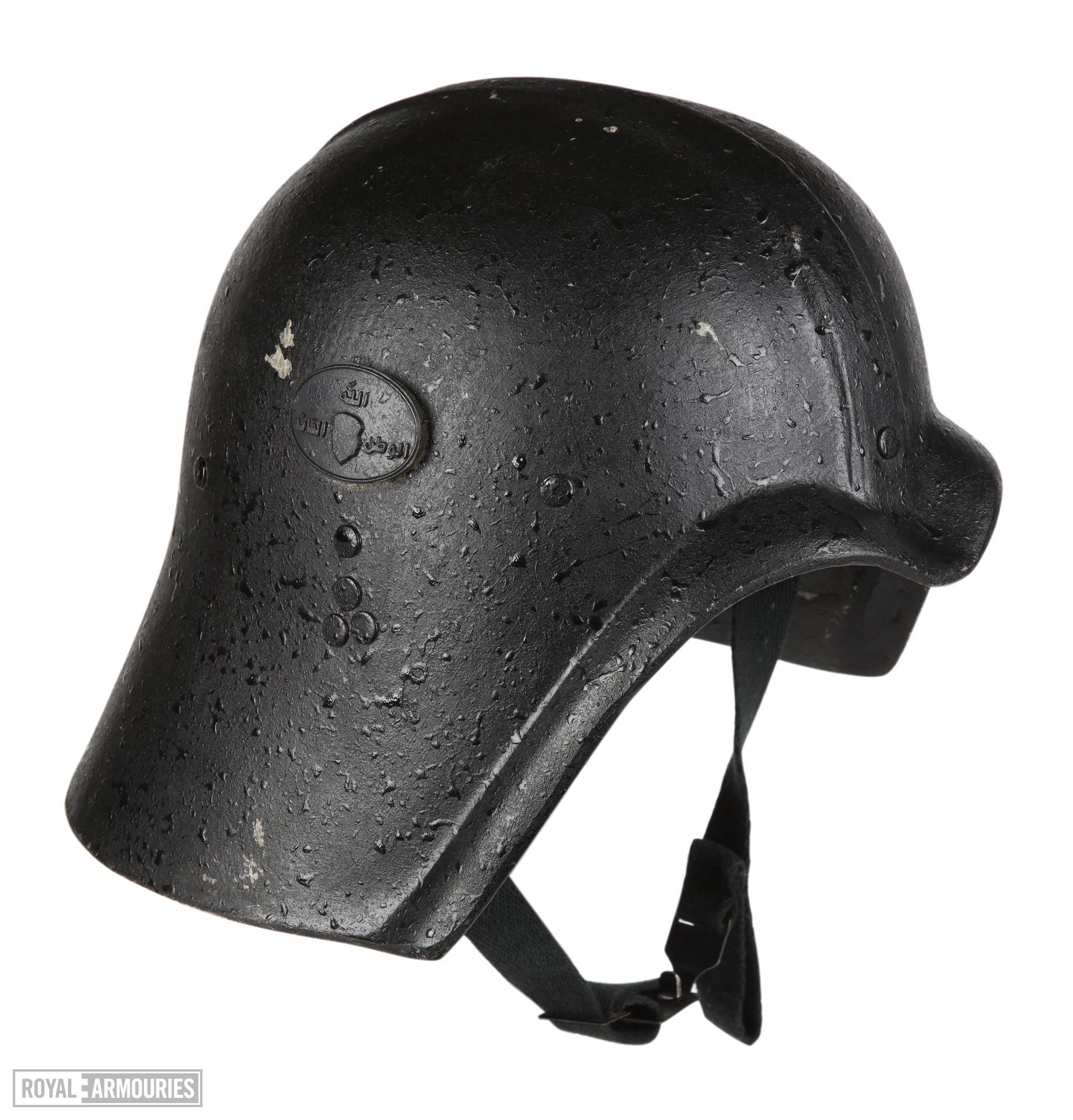 Right side view of helmet for Fedayeen Saddam, Iraq, about 1995 (IV.2059)