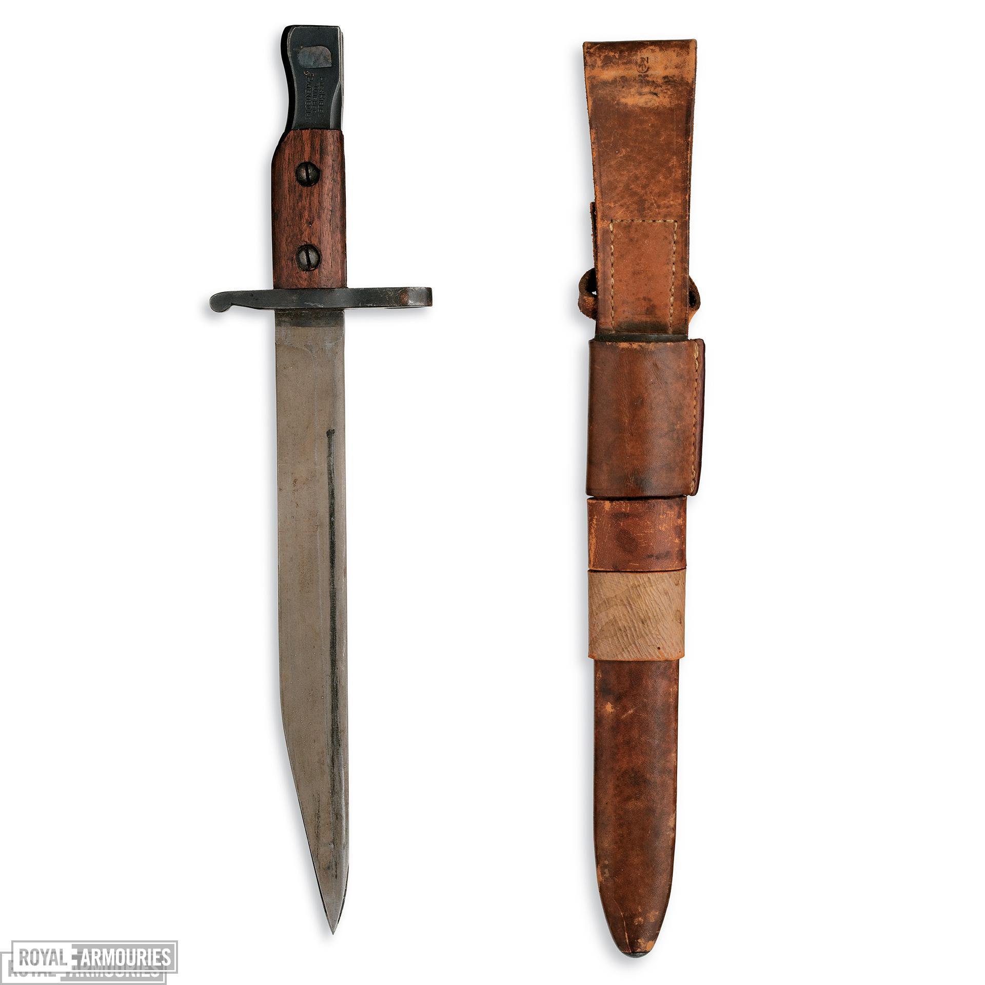 Bayonet and scabbard - Bowie trench knife, from a converted Ross bayonet
