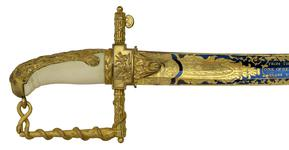 Thumbnail image of Presentation sword, English, about 1800-1803 (IX.2565 A) Presented to Lt James Bowen by the Lloyd's Patriotic Fund in 1803. Possibly by R. Teed. British, London.