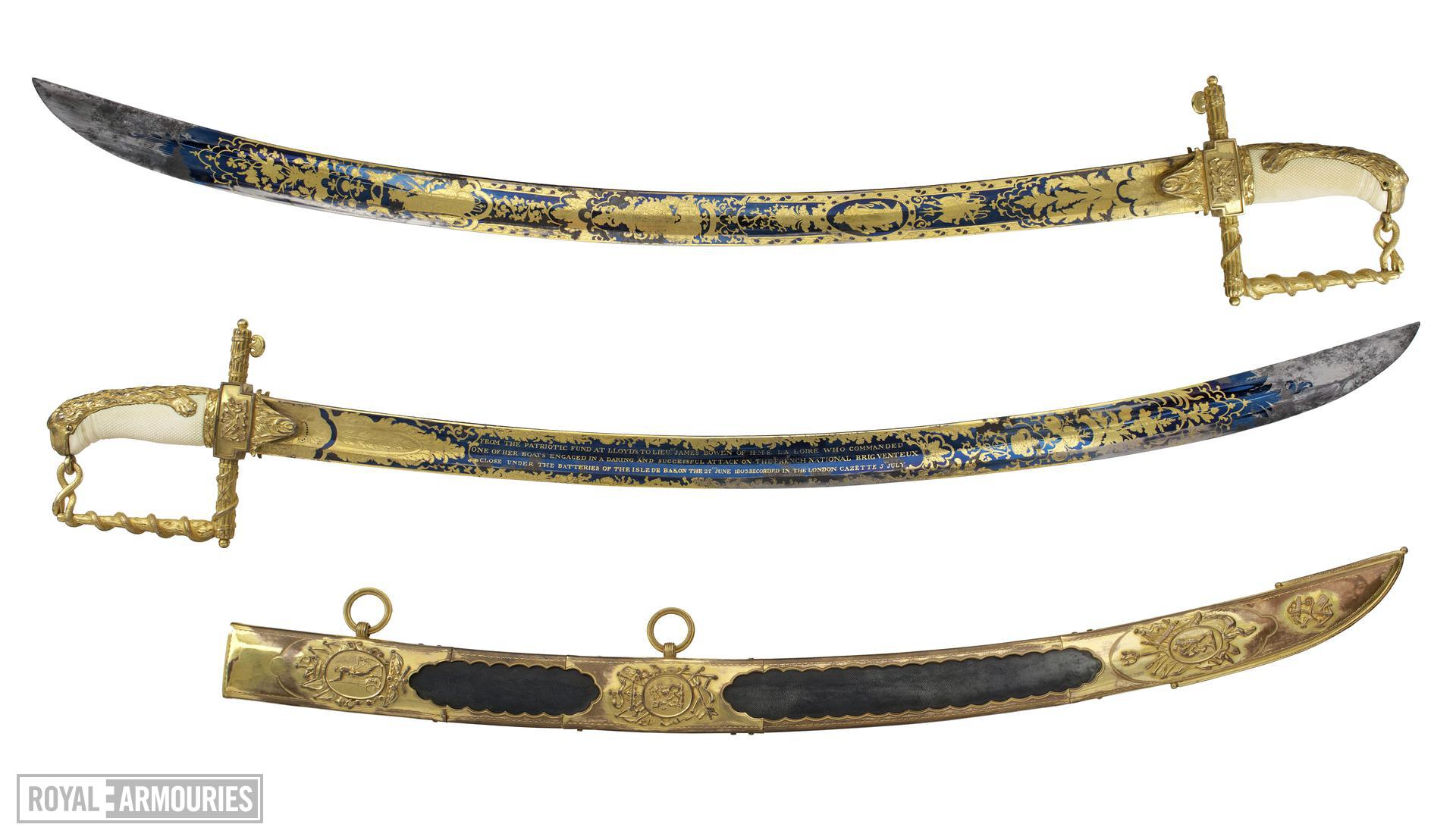 Presentation sword and scabbard, English, about 1800-1803 (IX.2565 A-D) Presented to Lt James Bowen by the Lloyd's Patriotic Fund in 1803. Possibly by R. Teed. British, London. - both sides of blade shown.