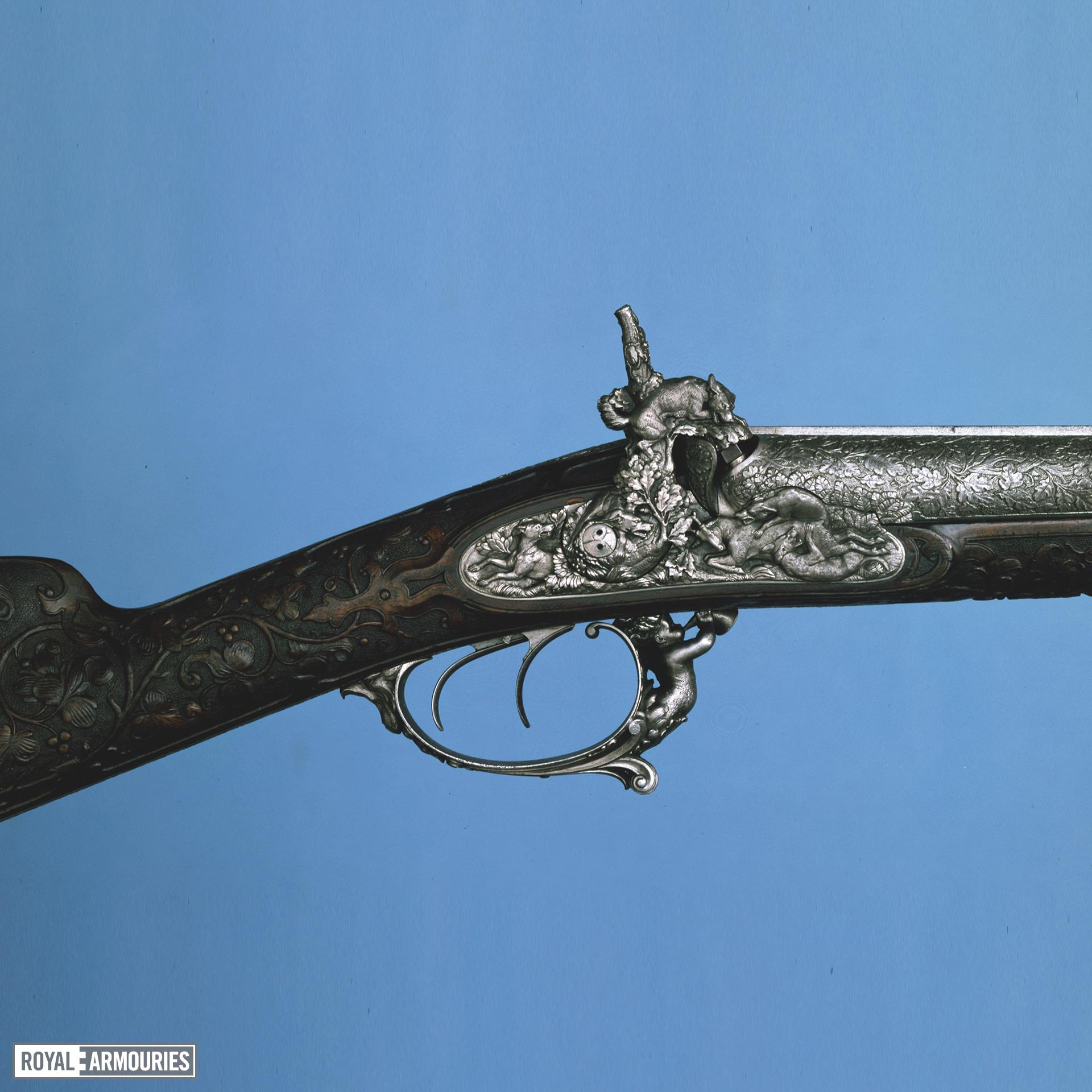 Percussion double-barrelled shotgun. LePage-Moutier exhibition gun. XII.4751