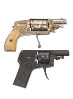 Thumbnail image of DI 2017-0919 Rimfire five-shot revolver, Velo-dog type Possibly by Arizmendi  Centrefire five-shot revolver, Velo-dog Crucero By Ojanguren y Vidosa