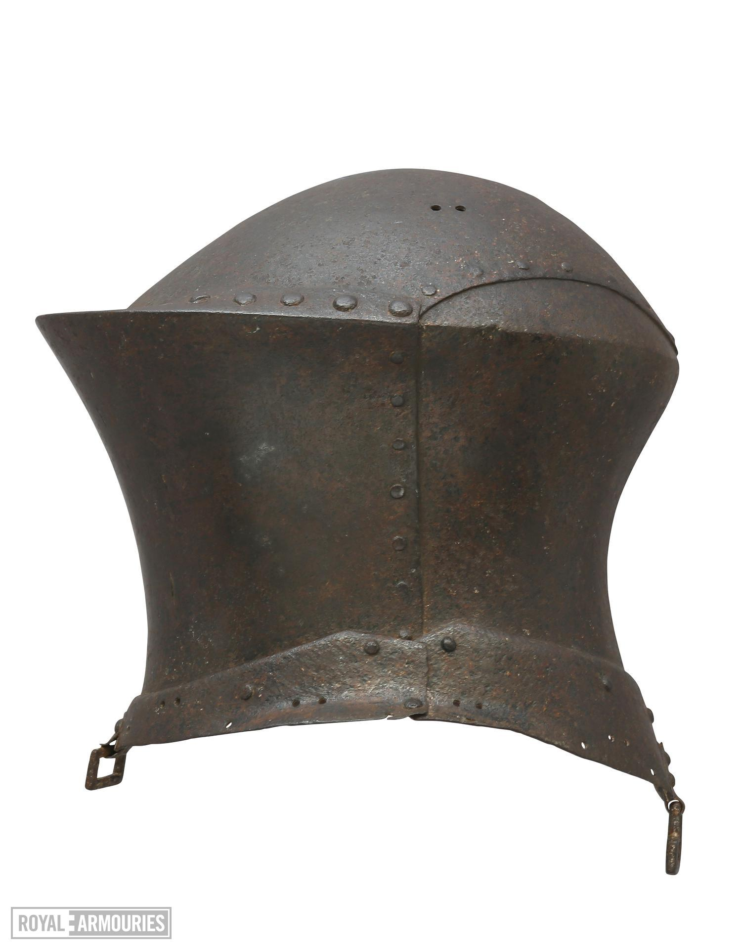 Jousting helm, From the tomb of Sir William Barendyne, St Peter's Church, Great Haseley, Oxfordshire. IV.1841