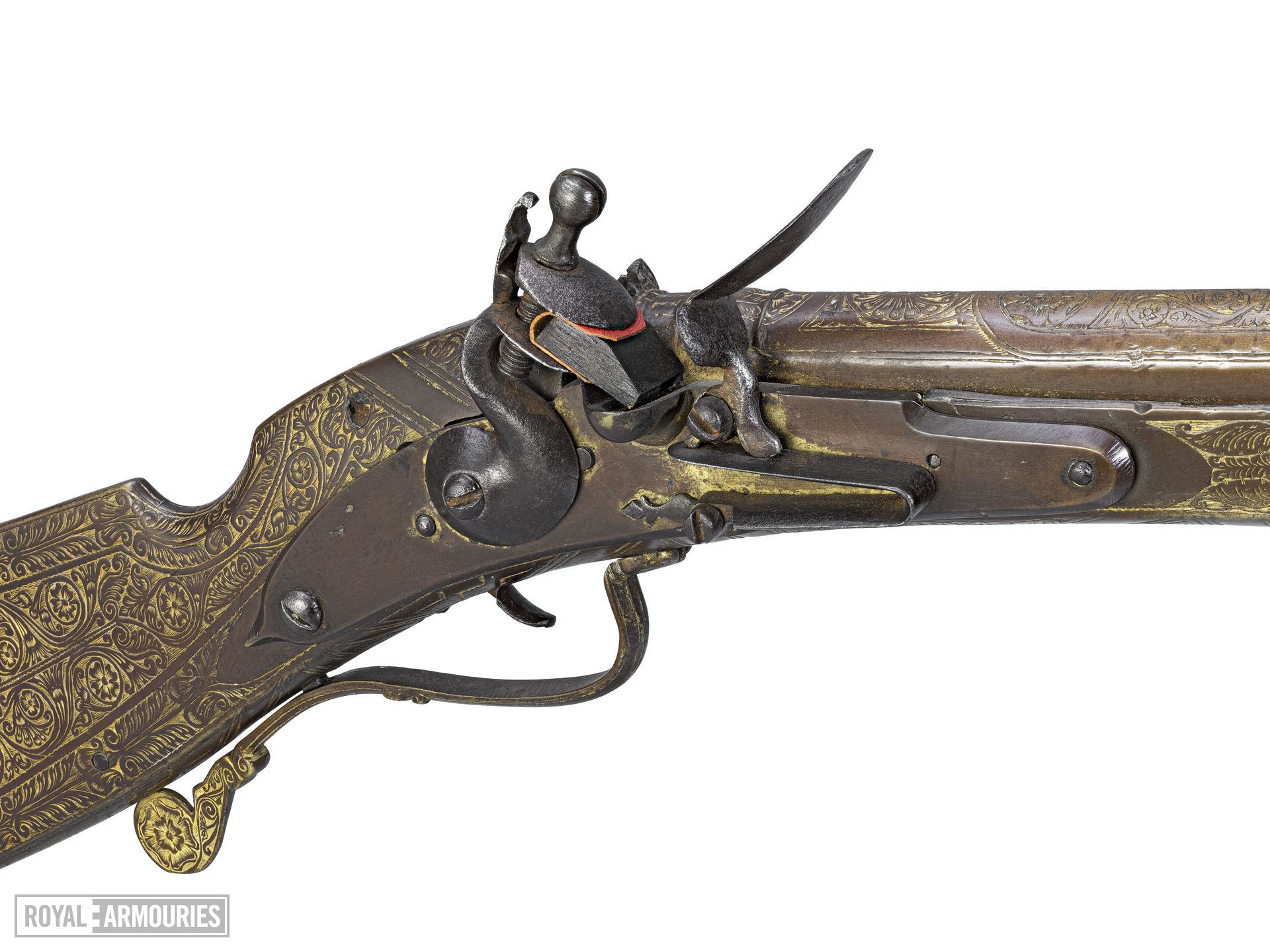 Flintlock sporting gun by James Low probably made for Charles I as Prince of Wales