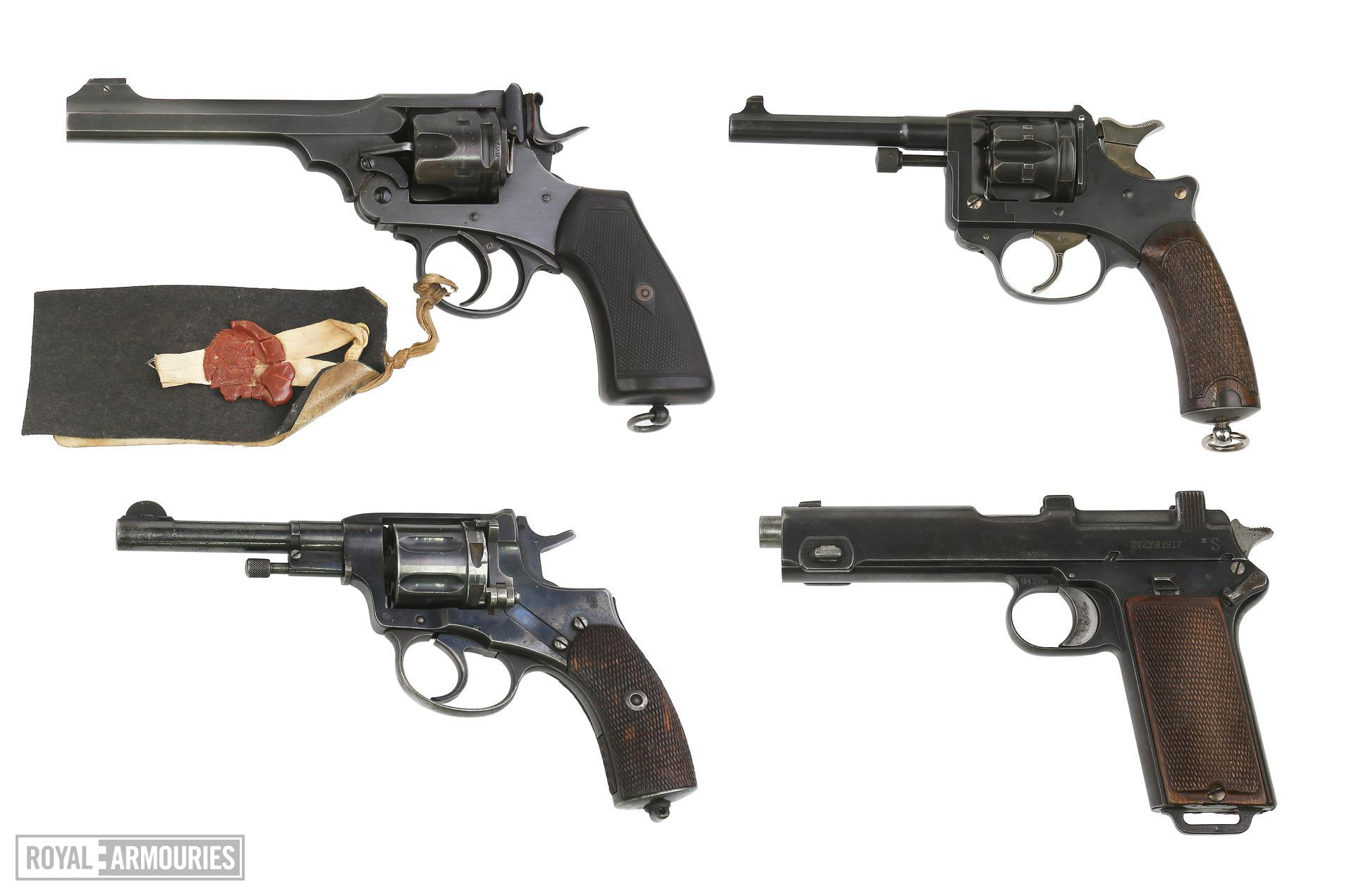 Collection of Centrefire revolvers & pistols. XII.4122, XII.10717, PR.4721 & PR.3276.