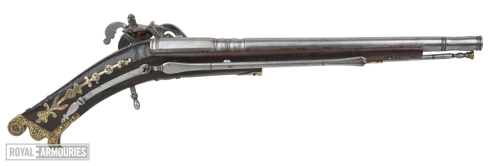 Snaphaunce pistol possibly belonging to Prince Charles, later King Charles I. Scottish, Dundee, dated 1619. Probably made by Allison  May. XII.737