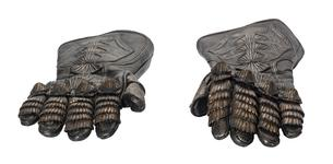 Thumbnail image of Gloves from The Lord Marshal's Costume. Part of the Lord Marshal's costume from the film the Chronicles of Riddick. Ornately decorated and highly detailed. Bronze and black in appearance but made from leather.