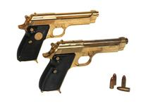 Thumbnail image of Gold copy of the Beretta 951 Brigadier alongside Gold plated Walther Model PP