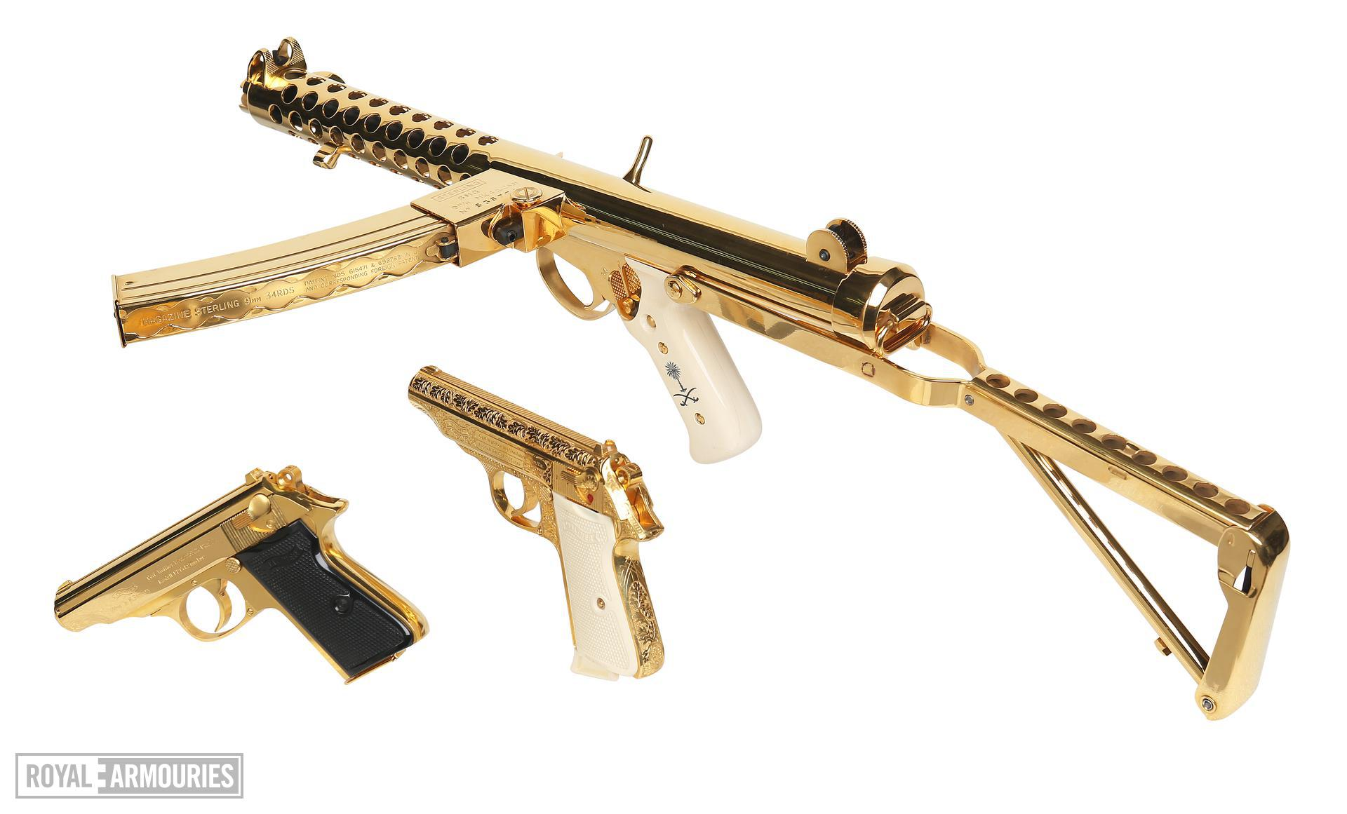 Gold plated Walther Model PP. Beretta 951 Brigadie and Sterling Mk.4