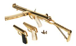 Thumbnail image of Gold plated Walther Model PP. Beretta 951 Brigadie and Sterling Mk.4