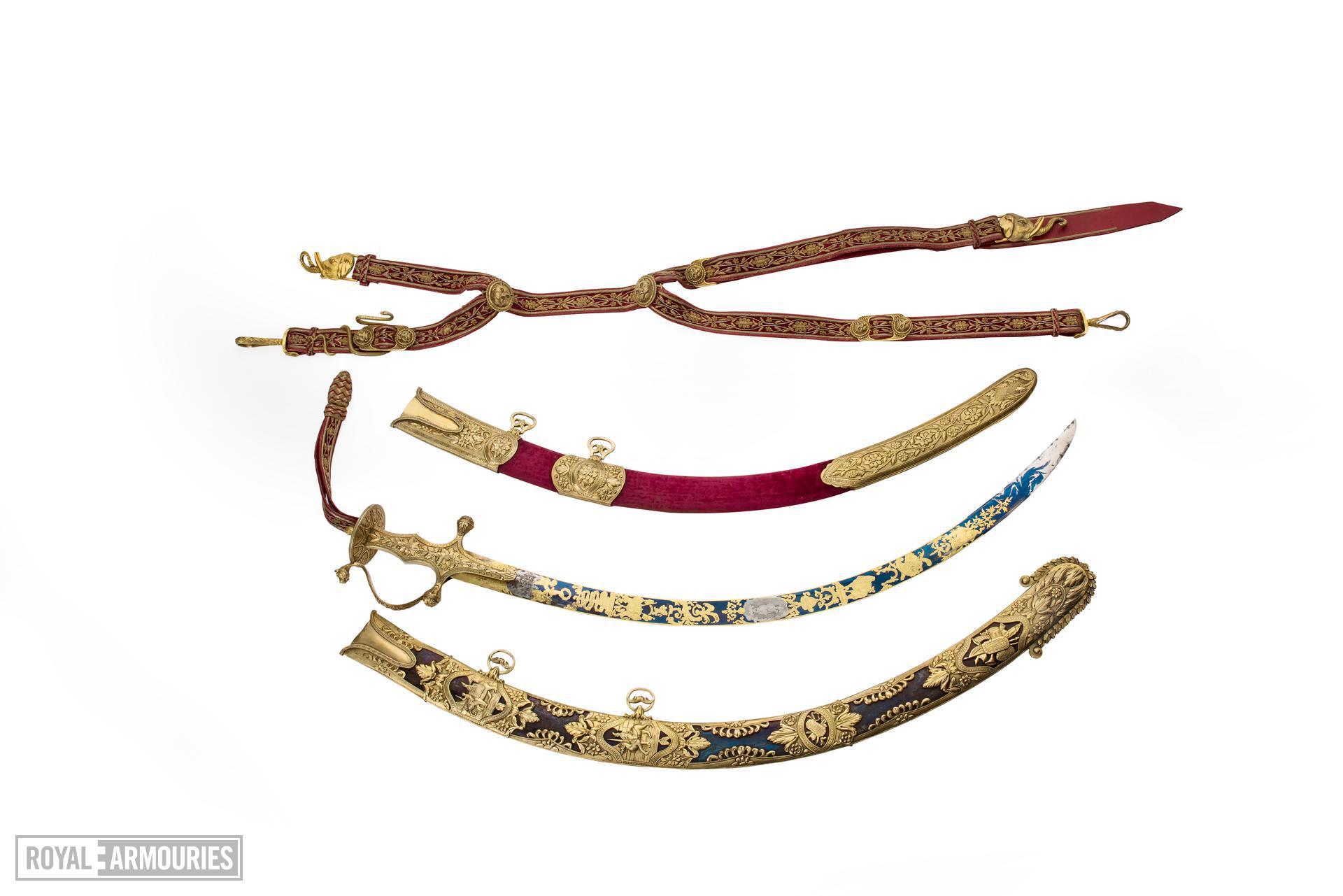 Sabre, scabbards, belt and case - Presentation Sabre