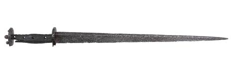 Thumbnail image of Rondel dagger with original wooden hilt, recovered from the Thames