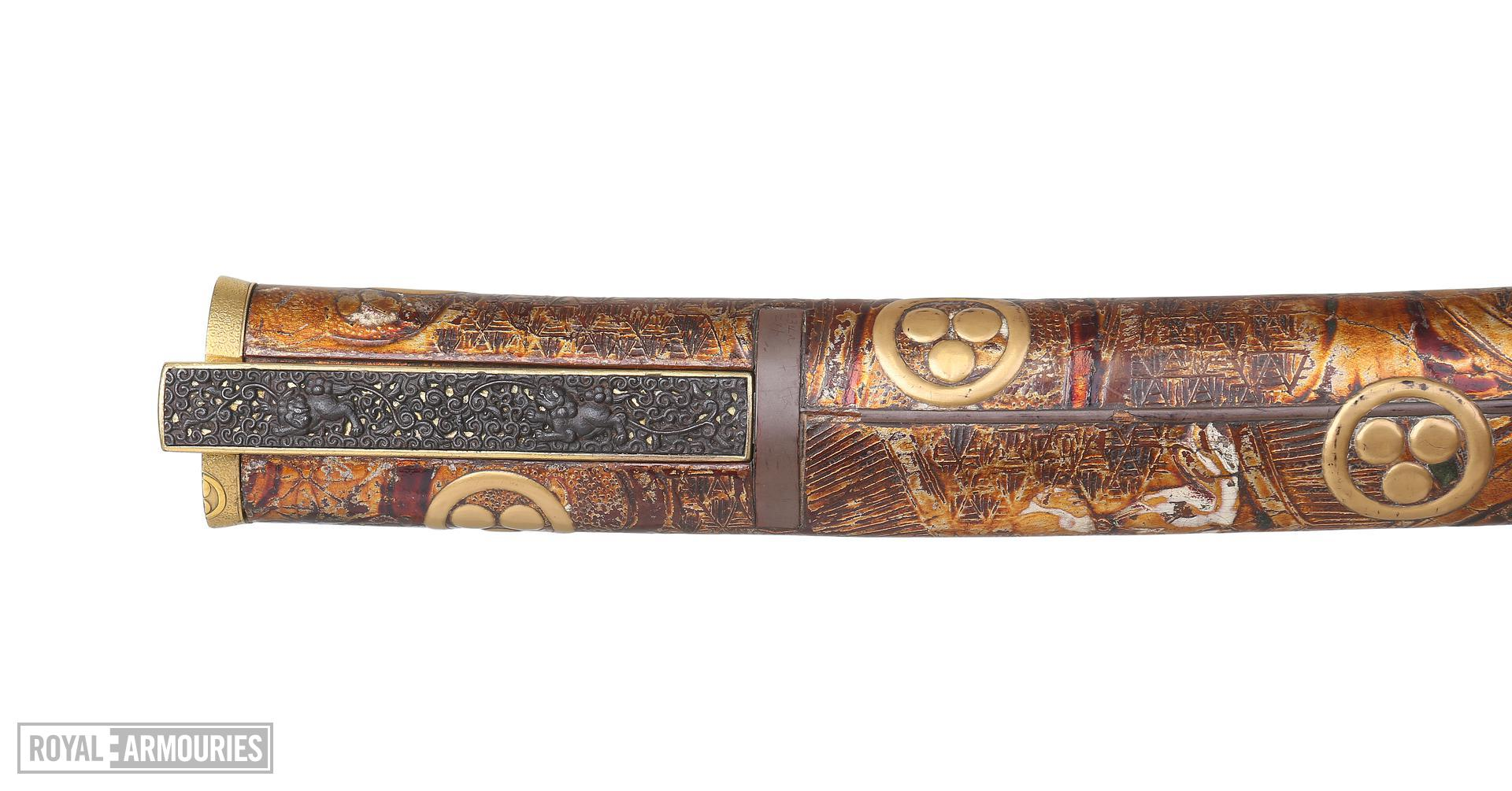Dagger (aikuchi). Japanese, late 17th century, with a German blade, dated 1625