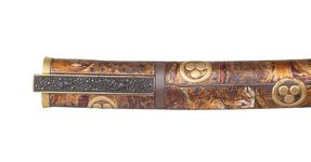 Thumbnail image of Dagger (aikuchi). Japanese, late 17th century, with a German blade, dated 1625