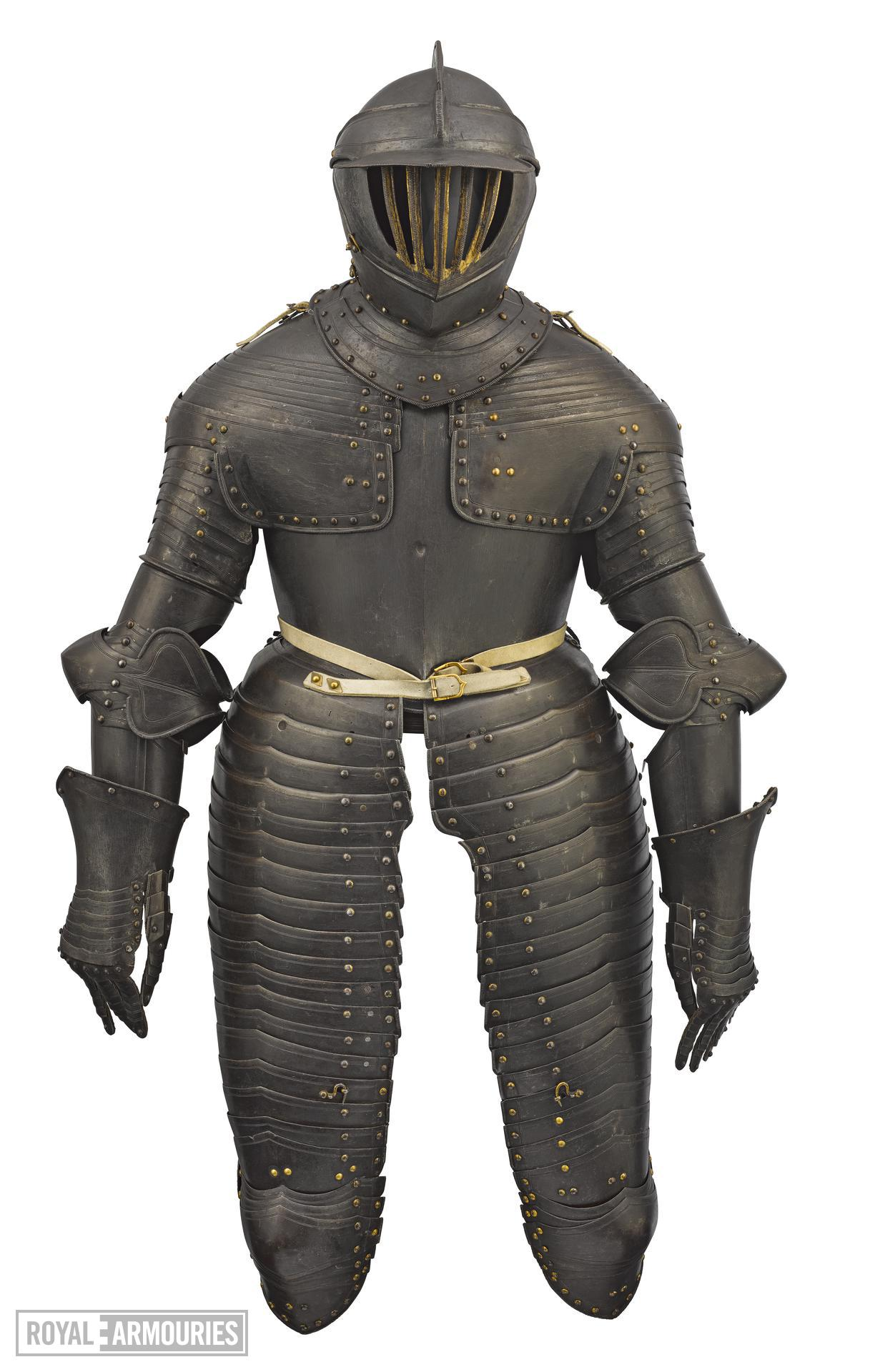 Dutch cuirassier armour of around 1630 with traces of gilding to the close burgonet. II.140
