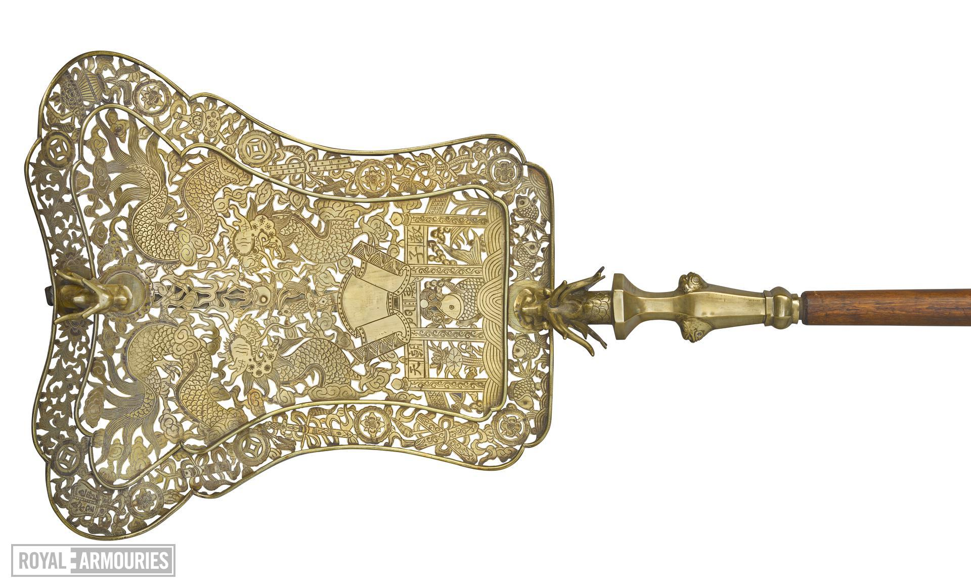 Processional fan of pierced and engraved brass XXVIL.113