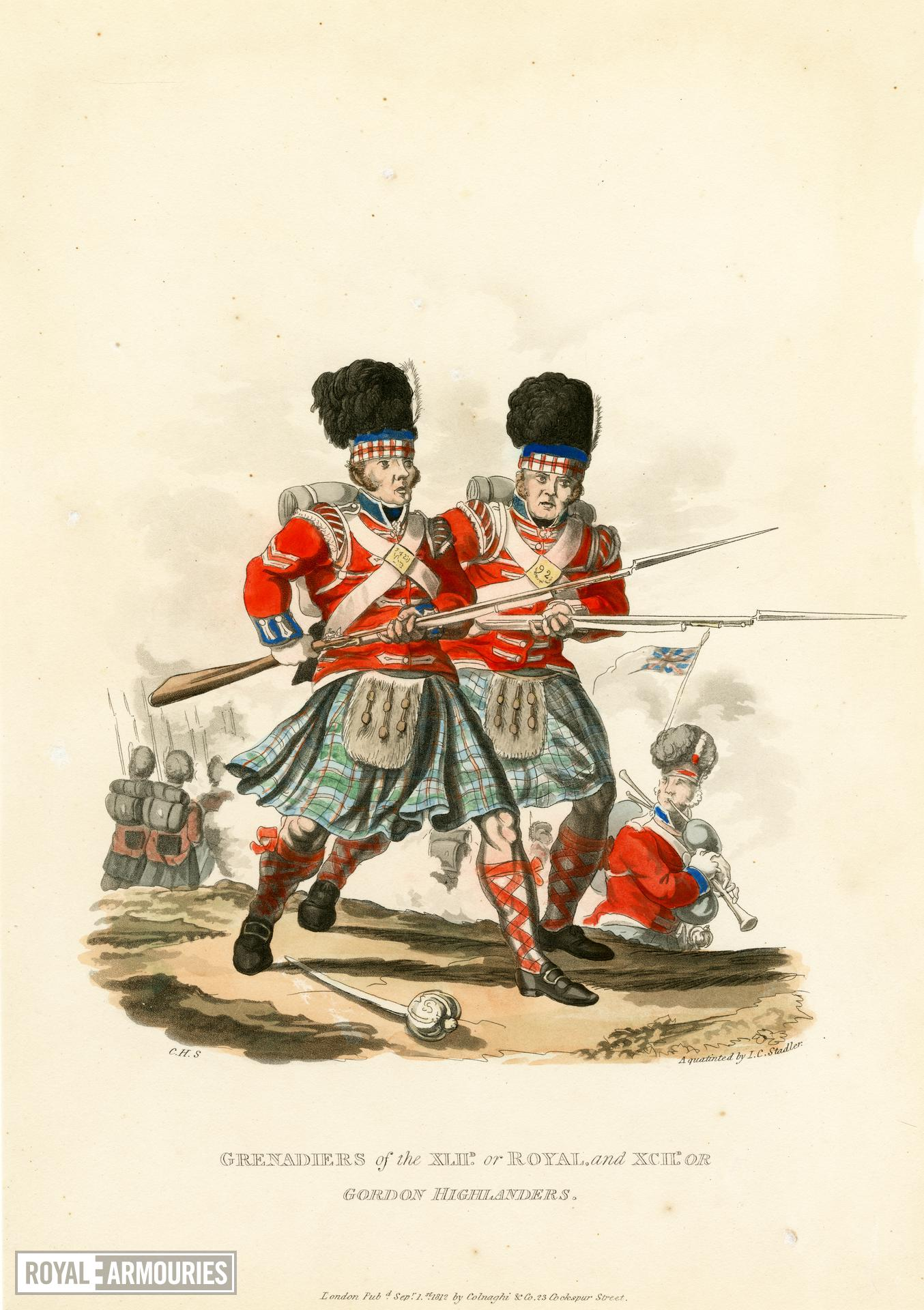 Grenadiers of the 42nd or Royal and 92nd or Gordon Highlanders, 1812. Aquatint by J C Stadler after Charles Hamilton Smith. London, published 1st September 1812 by Colnaghi & Co. 23 Cockspur Street.