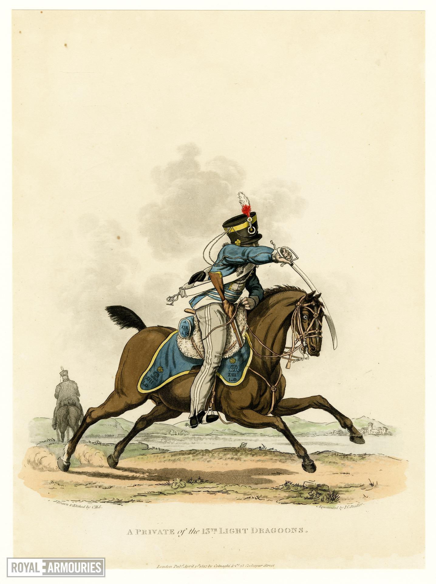 A private of the 13th Light Dragoons, 1812. Aquatint by J C Stadler after Charles Hamilton Smith. London, published 1st April 1812 by Colnaghi & Co. 23 Cockspur Street.