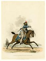 Thumbnail image of A private of the 13th Light Dragoons, 1812. Aquatint by J C Stadler after Charles Hamilton Smith. London, published 1st April 1812 by Colnaghi & Co. 23 Cockspur Street.