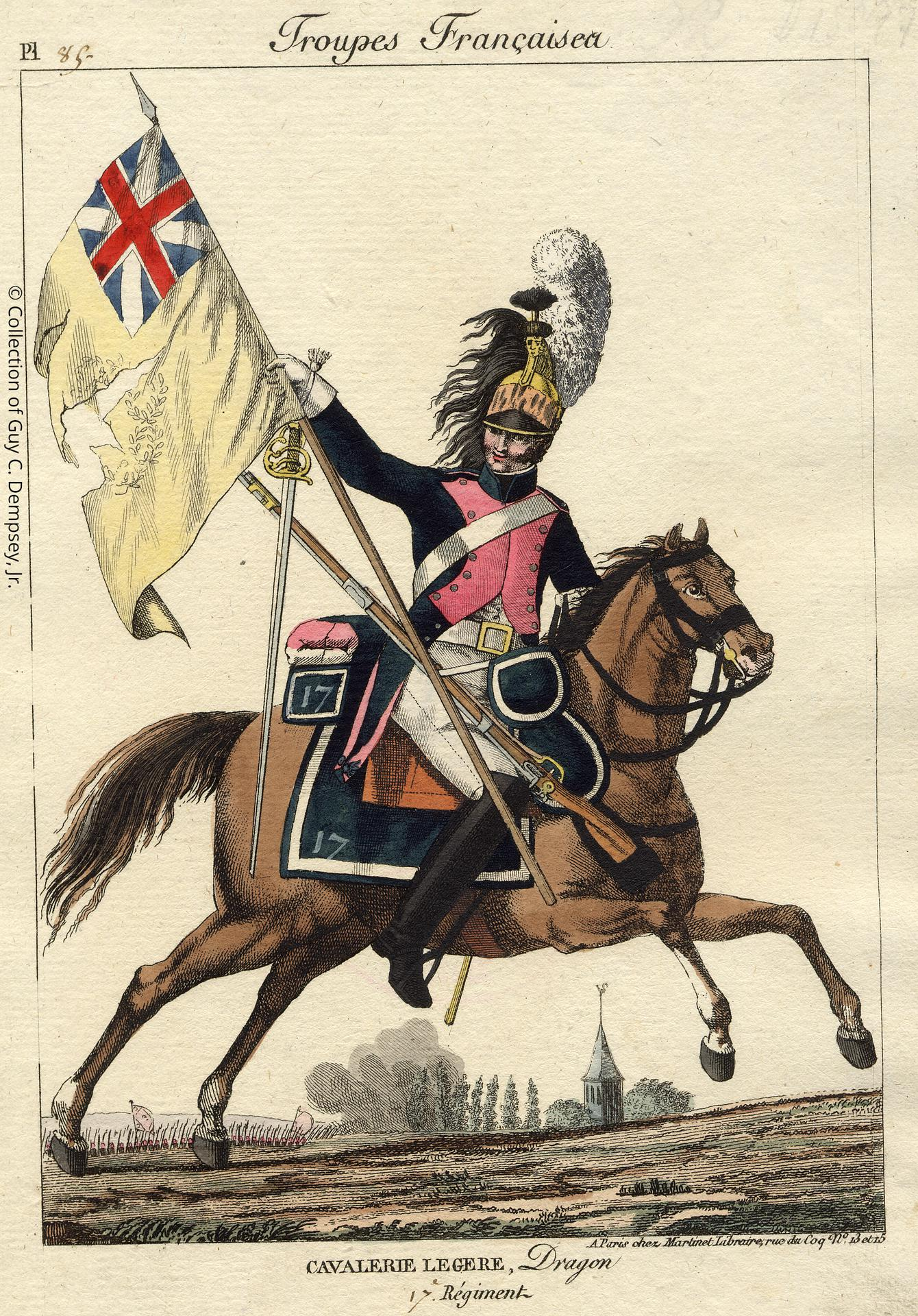 Dragoon of 17th Regiment with Captured English Colours, from the print series Troupes Françaises, published by Aaron Martinet.Paris 1811.