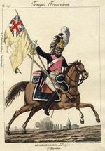 Thumbnail image of Dragoon of 17th Regiment with Captured English Colours, from the print series Troupes Françaises, published by Aaron Martinet.Paris 1811.