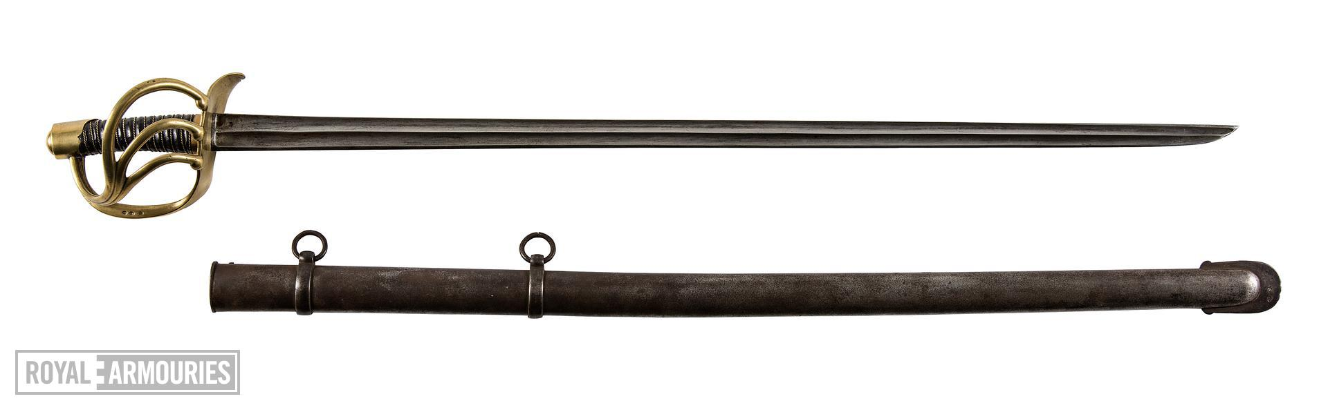Sword  for Cavalry of the line trooper, Pattern An XIII, France, 1802-1816 (IX.7047) and scabbard for the Carabiniers or Reserve trooper's sword. Model 1854 (IX.2065)
