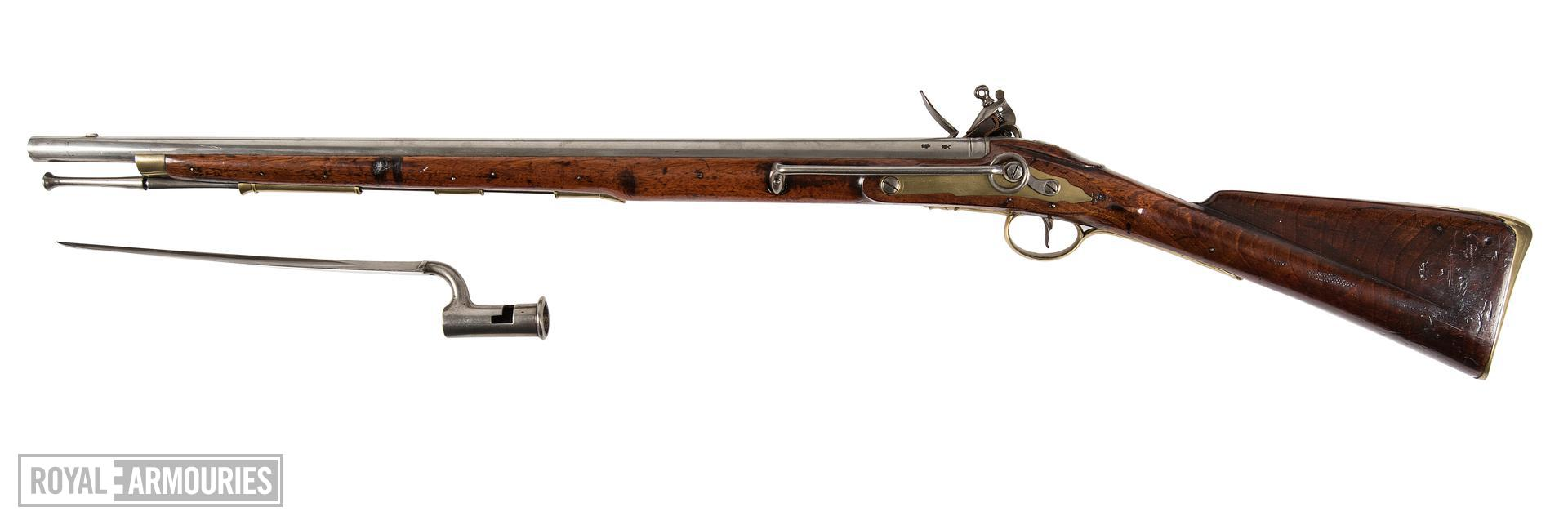 Flintlock muzzle-loading military Eliott Light Dragoon Carbine. Pattern 1773, England, about 1790 fitted with socket bayonet, Europe, about 1790 (XII.165 X.102)