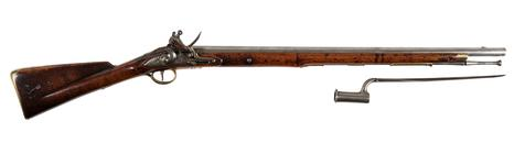 Thumbnail image of Flintlock muzzle-loading military Eliott Light Dragoon Carbine. Pattern 1773, England, about 1790 fitted with socket bayonet, Europe, about 1790 (XII.165 X.102)